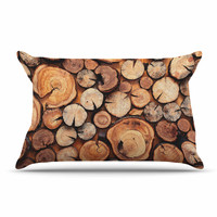 "Susan Sanders ""Rustic Wood Logs"" Brown Tan Pillow Sham"
