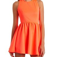 Geo-Quilted Sleeveless Skater Dress by Charlotte Russe - Neon Coral