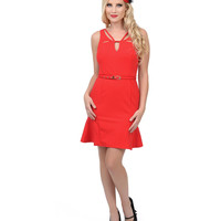 1960s Style Red Cut Out Fitted Cocktail Dress
