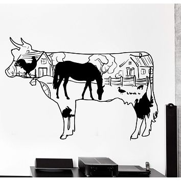 Wall Decal Farm Country Side Cow Horse Duck Rooster Home Interior Decor Unique Gift z4047