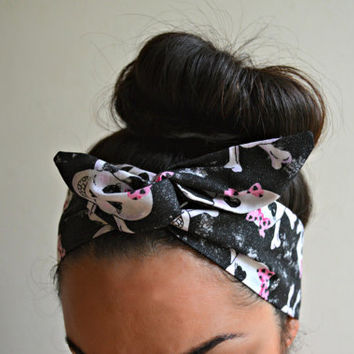Skulls Dolly bow Headband, hair bow head band