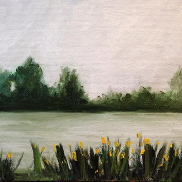 Cane River, Natchitoches, Louisiana - Daffodils - Oil Painting - Original - Honeyscolors - Landscape - Home Decor - 6 x 8