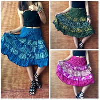 Boho Skirt Festival Bohemian clothing Hippie Gypsy Patchwork Dance Circle skirt Chic unique gift for her Women Beach Summer fashion Handmade