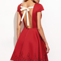 Red Open Back Flare Dress