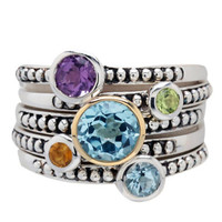 Lord & Taylor Multi Precious Stone Ring in Sterling Silver and 14 Kt. Yellow Gold