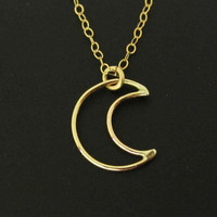 Gold Moon Necklace, Gold Half Moon Necklace, Dainty Necklace, I Love You To The Moon and Back Necklace, Crescent Moon Necklace