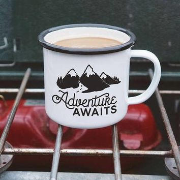 Adventure Awaits Enamel Camping Coffee Mug in Black and White