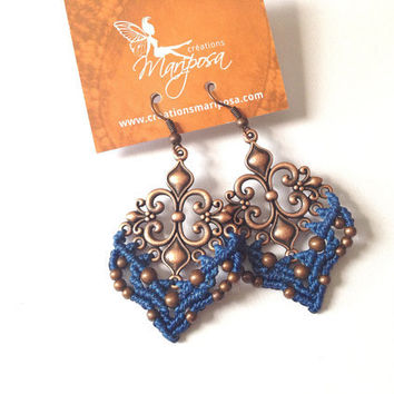 Fleur de lis Quebec blue Hippie-chic handwoven earrings long pendants boho bohemian macrame gypsy woodland elf