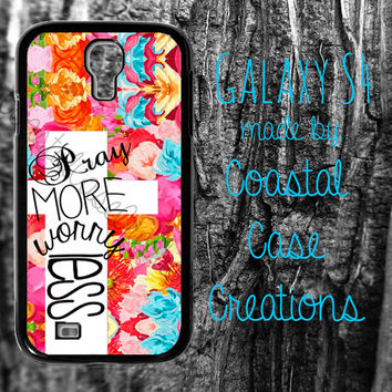 Pray More Worry Less Flowers and Cross Quote Samsung Galaxy S4 2 Piece Durable Cell Phone Case Cover Original Design