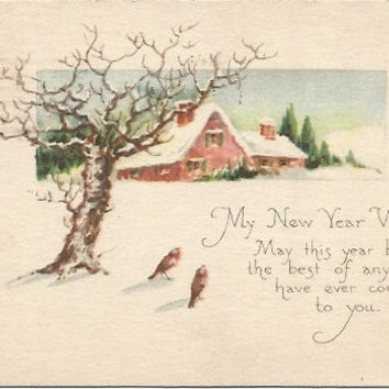 Antique Postcard My New Year Wish Winter Scene Birds 1920s