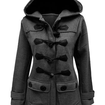 Deduction Stitching Double Pockets Hooded Wool Coat
