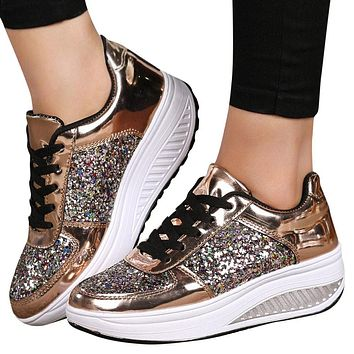 Women s Ladies Wedges Sneakers Sequins Shake Shoes Fashion Girls Sport Shoes 4889bad9d