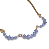 "Swarovski Color Changing Alexandrite Crystal Necklace in Gold - 16.75"" - NCK052"