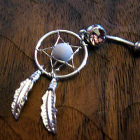 Light Amethyst -- Dream Catcher Belly Button Ring