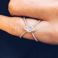 Rose Gold Moonstone & Diamond X Ring