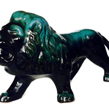 Rare Blue Mountain Pottery Lion, Large Mid Century Animal Decor