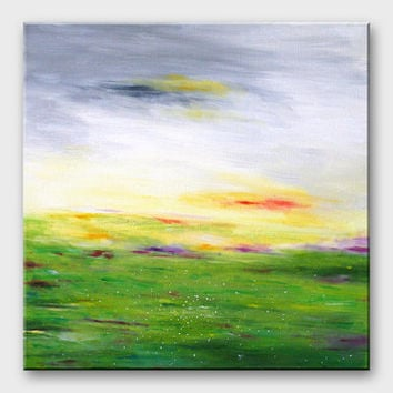 Minimalist landscape painting Abstract landscape painting Modern canvas painting 16x16 Green gray pastel colors Contemporary square art