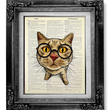 Cat Art Print, Geekery Decor HIPSTER Art, Nerd Art GEEK Wall Art, Geeky Poster Nerdy Decor, College Dorm Decor OFFICE Art, Funny Cat Glasses