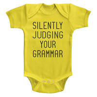 Yellow 'Silently Judging Your Grammar' Bodysuit - Infant