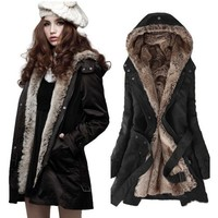 Zicac Women's Thicken Fleece Faux Fur Warm Winter Coat Hood Parka Overcoat Long Jacket Fur Winter Coat Fur Coat Winter Warm Jackets Wrap Trench Coat Womens Christmas gift Womens gift | deviazon.com