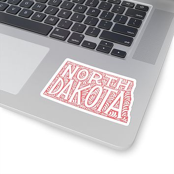 North Dakota State Shape Sticker Decal - Coral
