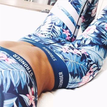 Sports Casual Set Summer Print Wrap Pants Gym Sportswear Set [10177713287]