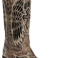 Corral Ladies Wing And Cross Sequence Square Toe Western Boot