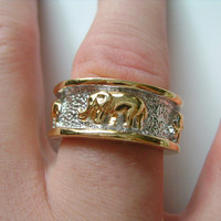 Super Cool Two Tone Gold & Silver Plated With Golden Walking Elephant Elephants Accents Wide Band Ring Men's Man Costume Jewelry Size 10.5