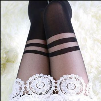 Fashion Women's Tights Japan Cute Skinny Sexy Knee High Women's Stocking Pantyhose Attactive Woman Tight Stocking