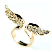 Fashion Hot New Gold Plated Double Wings With Shining Rhinestone Adjustable Rings (Color: Gold) = 1958296132
