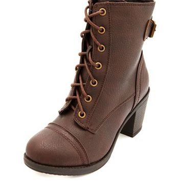 BUCKLE LACE-UP MID HEEL BOOT