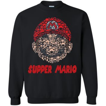mario head brothers retro gaming parody SHAPED mashup t shirt G180 Gildan Crewneck Pullover Sweatshirt  8 oz.