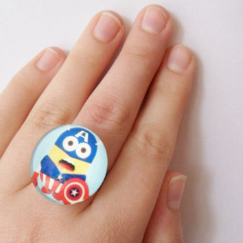 Dave the Minion as Captain America Ring Marvel Despicable Me Movie Comic Superhero Accessory Jewelry