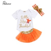 New Thanksgiving Clothing set 3Pcs Kid Baby Girl Jumpsuit Romper Bodysuit Tutu Headband Outfit Set