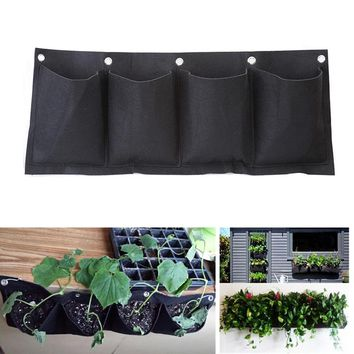 Decorative Outdoor Horizontal Vegetable Garden Hanging Wall Planter Bag 4 Pockets Seedling Potato Strawberry Grow Bags For Plant