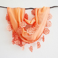 Peach Lace Scarf, Outrageous Orange Scarf, Bridesmaids Gift, Halloween, Autumn, Fashion Scarf