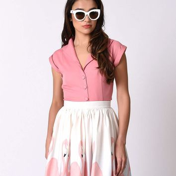 Banned Vintage Pink Button Up Cap Sleeve Blouse