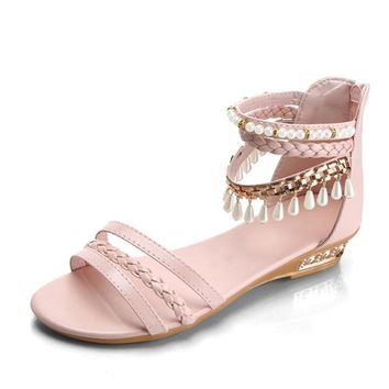 Women Summer Sandals Women Bohemian Style Sweet Shoes Lady Casual Zipper Bench Gladiator Shoes