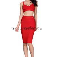 Norboe Red Bandage Celebrity Dress Two Piece_Two piece_DRESS_NORBOE