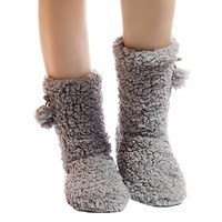 Thick Plush Warm Indoor slippers Floor Shoes Women's Cotton-padded Shoes Non-slip Soft Bottom Home Shoes slippers