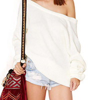 Loose Off Shoulder Knitted Sweater