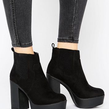 New Look Suedette Platform Boot at asos.com