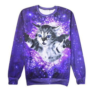 Women Harajuku galaxy cat Sweatshirt 3D Popular Street wear Tops Couple Clothes Cute Hoodies tracksuit pullovers outerwear sw119