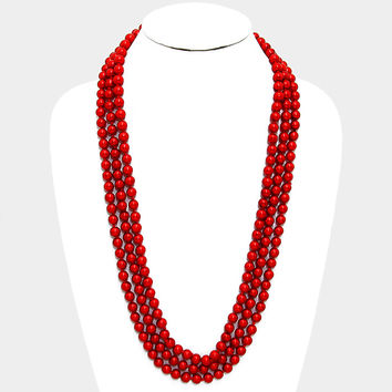 "90"" red faux 8mm pearl layered long faux choker collar bib statement Necklace red"