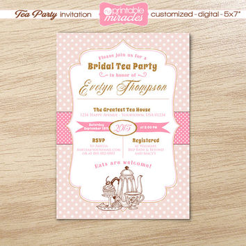 Printable Bridal ShowerTea party invitation, Tea theme invite card,  Pink bridal shower tea party invitation / customized, digital