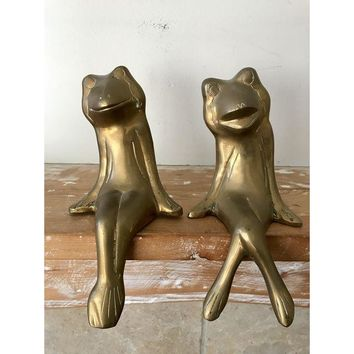 Mid Century Brass Frogs - a Pair