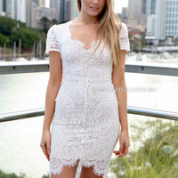 WILLOW LACE 2.0 DRESS , DRESSES, TOPS, BOTTOMS, JACKETS & JUMPERS, ACCESSORIES, 50% OFF , PRE ORDER, NEW ARRIVALS, PLAYSUIT, COLOUR, GIFT VOUCHER,,White,Print,LACE,BODYCON,SHORT SLEEVE,MINI Australia, Queensland, Brisbane