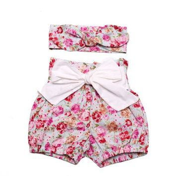 Hot Shorts Hot Sell Newborn Baby Bloomers Floral Baby Girls +Headband Clothes Sets Baby Diaper Covers Infant  Ruffles short kidAT_43_3