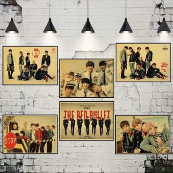 Kpop BTS/Bangtan Boys Album WINGS Photo retro Poster Bar Cafe Vintage Printing Drawing core Decorative Painting wall sticker