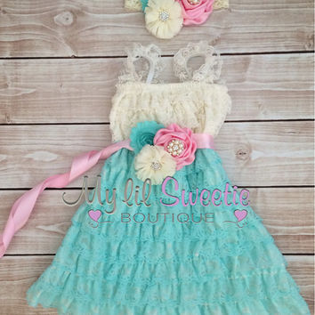 Ivory, light pink, light mint aqua 3 piece set, dress, sash, headband, baby girl outfit, special occasion dress, toddler dress, girls dress,